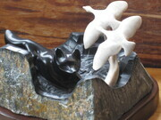 Fox and Geese Soapstone Carving
